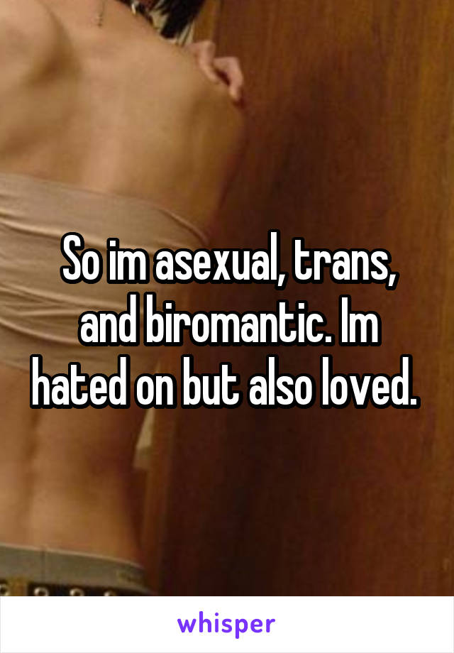 So im asexual, trans, and biromantic. Im hated on but also loved.