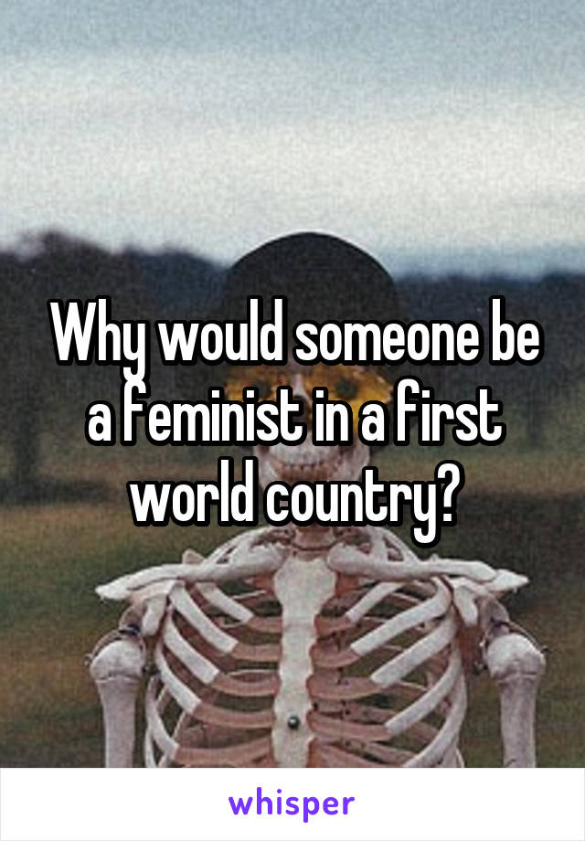 Why would someone be a feminist in a first world country?