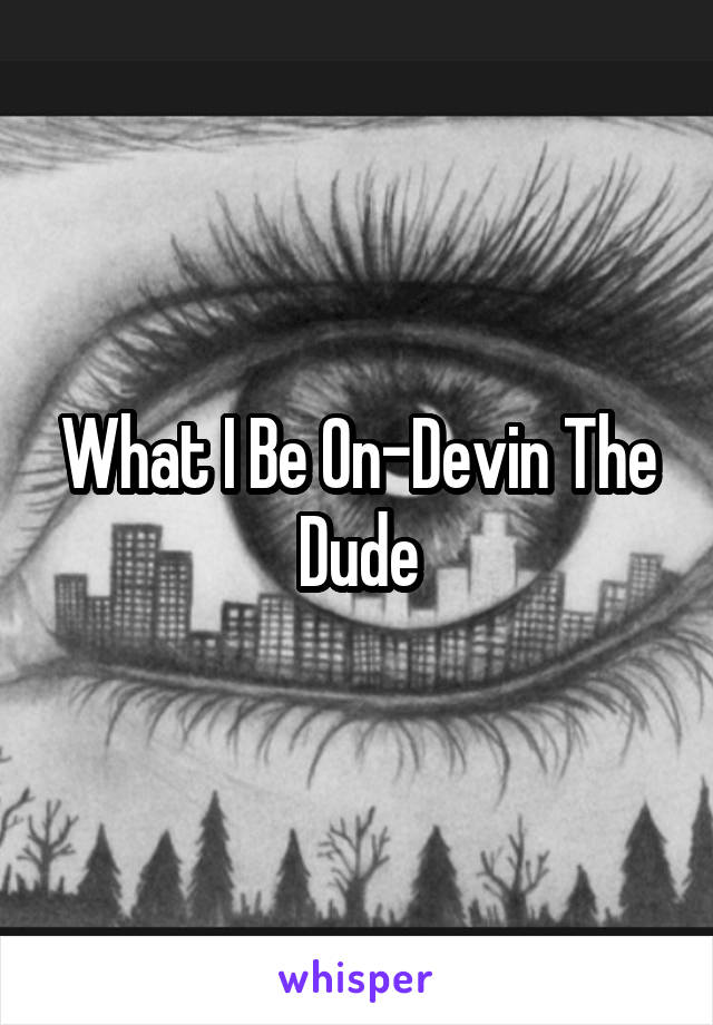 What I Be On-Devin The Dude