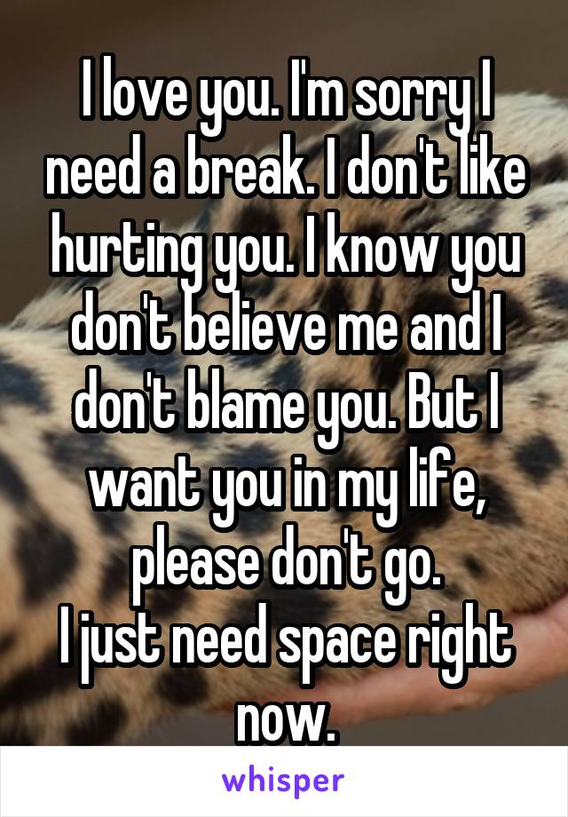 I love you. I'm sorry I need a break. I don't like hurting you. I know you don't believe me and I don't blame you. But I want you in my life, please don't go. I just need space right now.