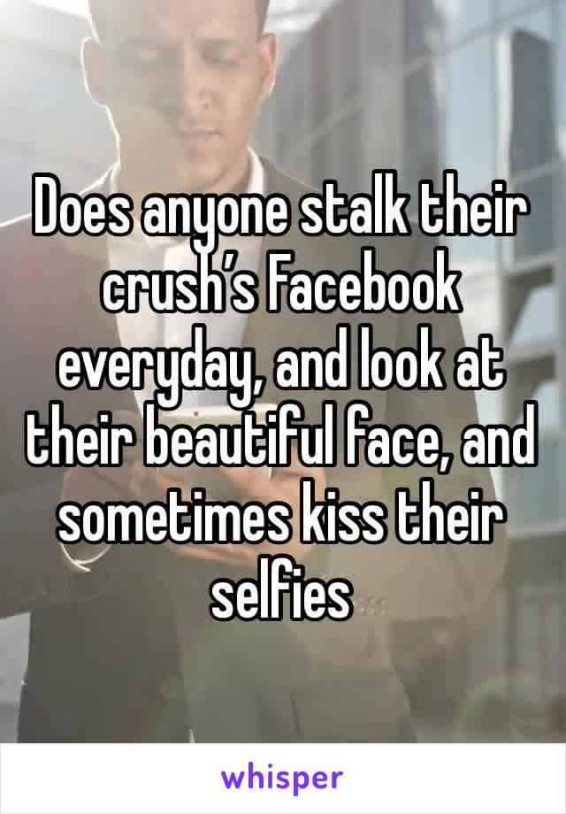 Does anyone stalk their crush's Facebook everyday, and look at their beautiful face, and sometimes kiss their selfies
