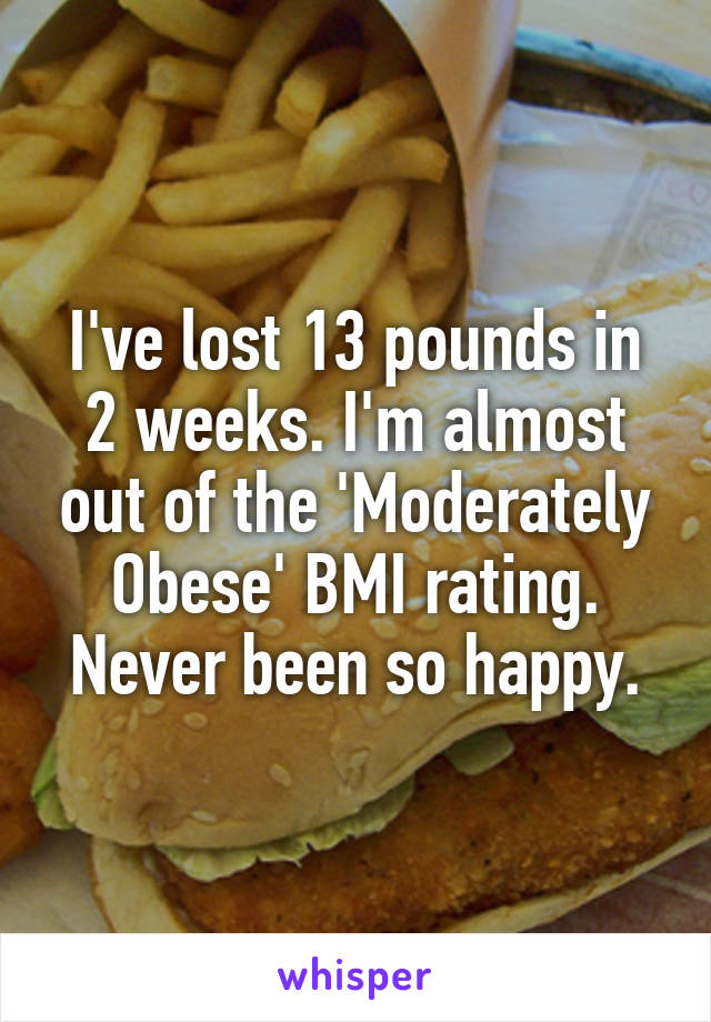 I've lost 13 pounds in 2 weeks. I'm almost out of the 'Moderately Obese' BMI rating. Never been so happy.