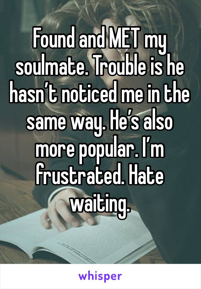 Found and MET my soulmate. Trouble is he hasn't noticed me in the same way. He's also more popular. I'm frustrated. Hate waiting.