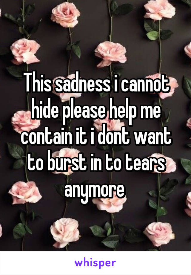 This sadness i cannot hide please help me contain it i dont want to burst in to tears anymore