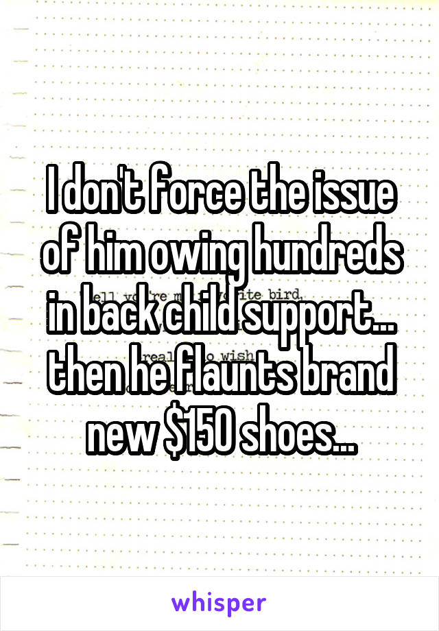 I don't force the issue of him owing hundreds in back child support... then he flaunts brand new $150 shoes...