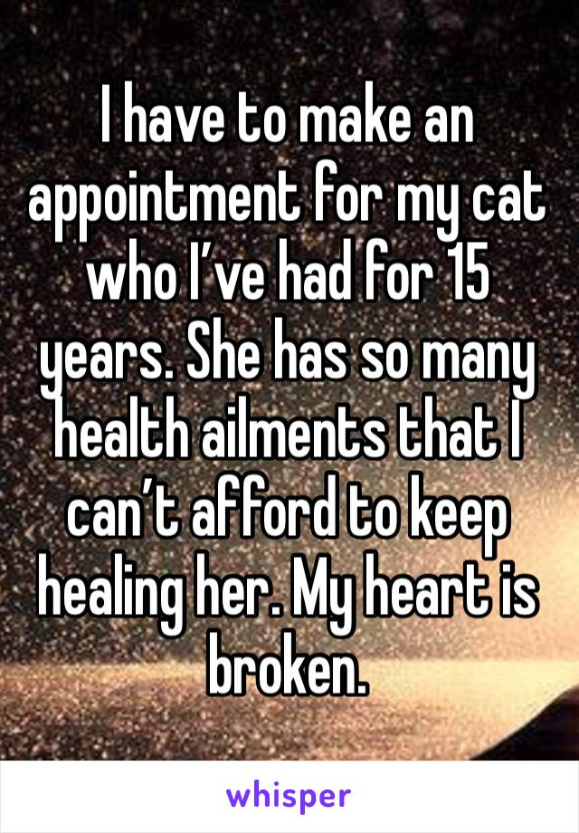 I have to make an appointment for my cat who I've had for 15 years. She has so many health ailments that I can't afford to keep healing her. My heart is broken.