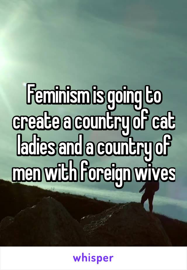 Feminism is going to create a country of cat ladies and a country of men with foreign wives