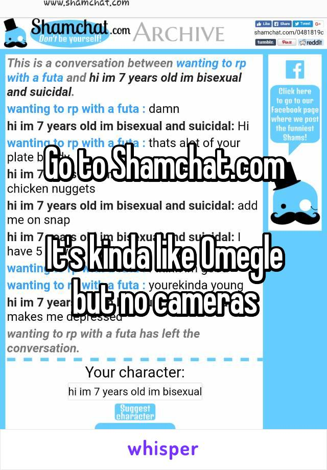 Go to Shamchat.com  It's kinda like Omegle but no cameras