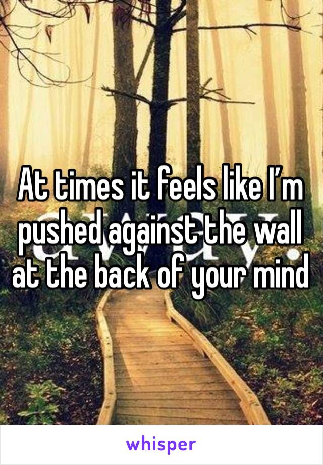 At times it feels like I'm pushed against the wall at the back of your mind