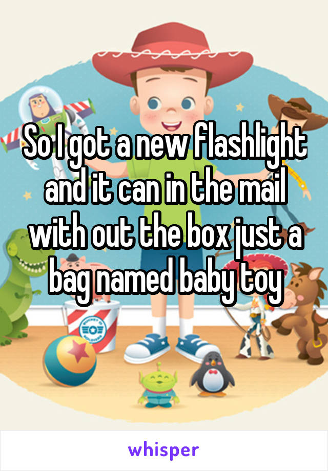 So I got a new flashlight and it can in the mail with out the box just a bag named baby toy