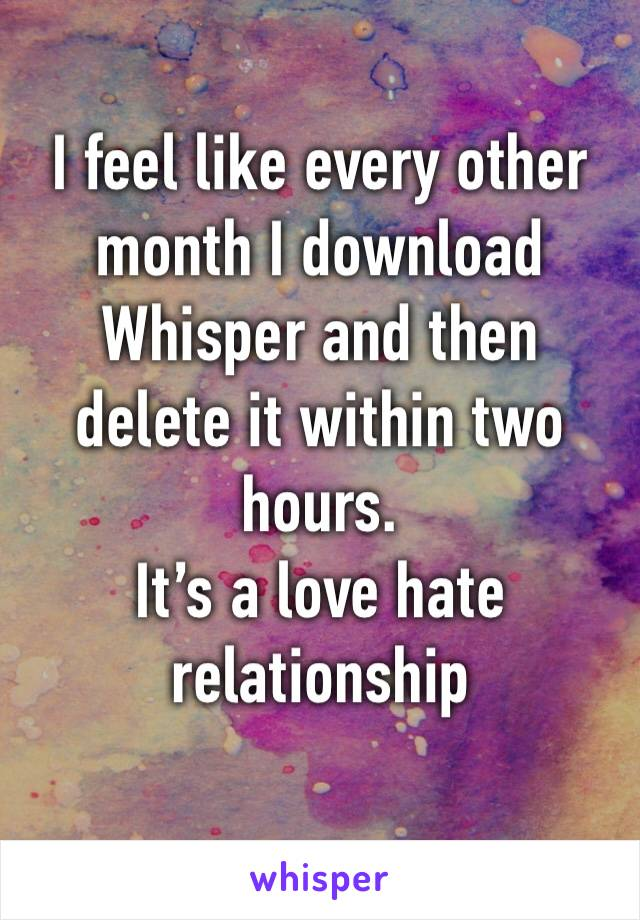 I feel like every other month I download Whisper and then delete it within two hours.  It's a love hate relationship