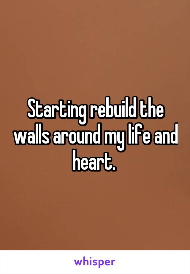 Starting rebuild the walls around my life and heart.