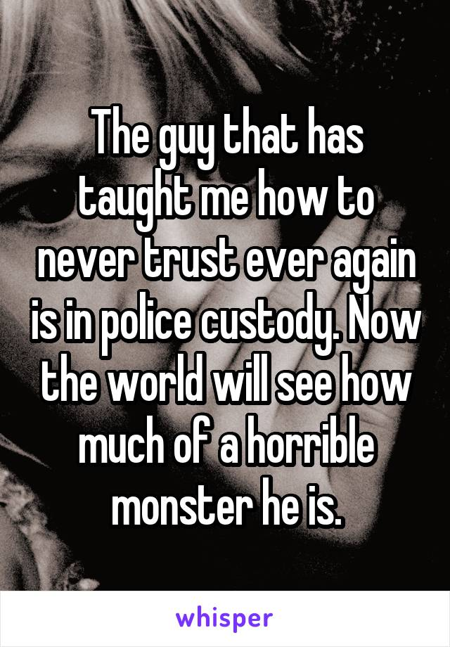 The guy that has taught me how to never trust ever again is in police custody. Now the world will see how much of a horrible monster he is.