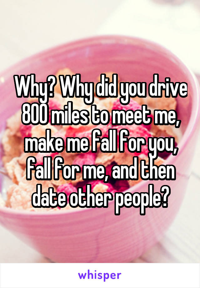 Why? Why did you drive 800 miles to meet me, make me fall for you, fall for me, and then date other people?
