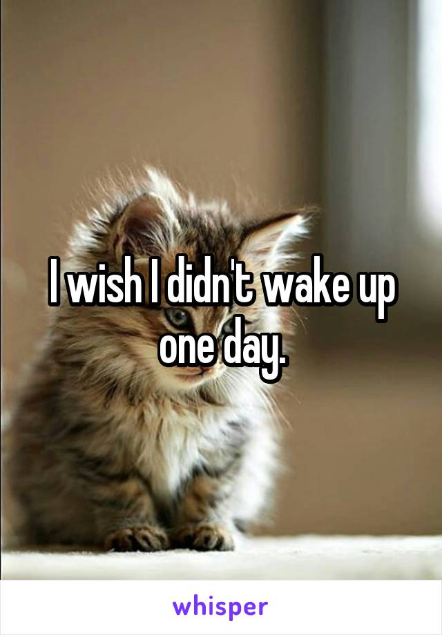 I wish I didn't wake up one day.