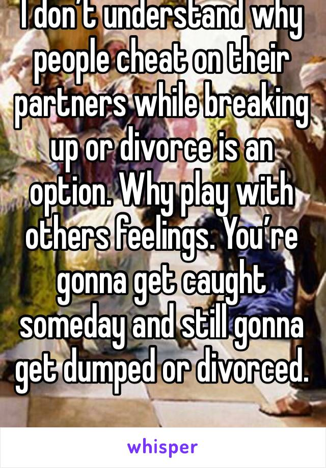 I don't understand why people cheat on their partners while breaking up or divorce is an option. Why play with others feelings. You're gonna get caught someday and still gonna get dumped or divorced.
