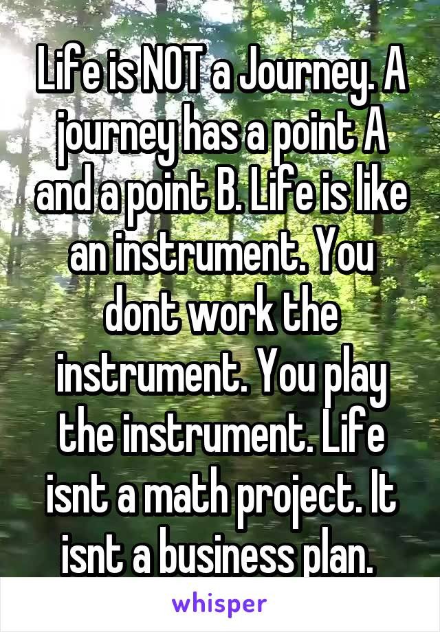 Life is NOT a Journey. A journey has a point A and a point B. Life is like an instrument. You dont work the instrument. You play the instrument. Life isnt a math project. It isnt a business plan.