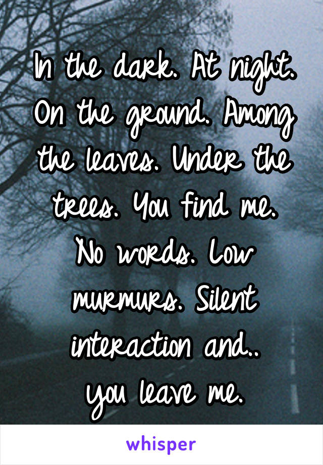 In the dark. At night. On the ground. Among the leaves. Under the trees. You find me. No words. Low murmurs. Silent interaction and.. you leave me.