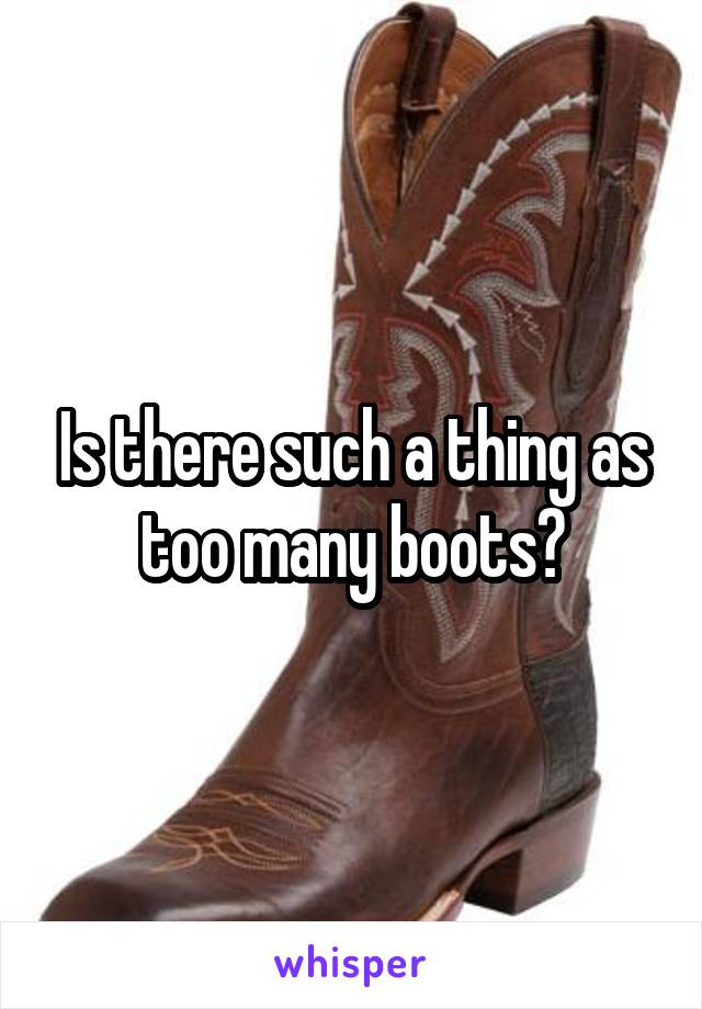 Is there such a thing as too many boots?