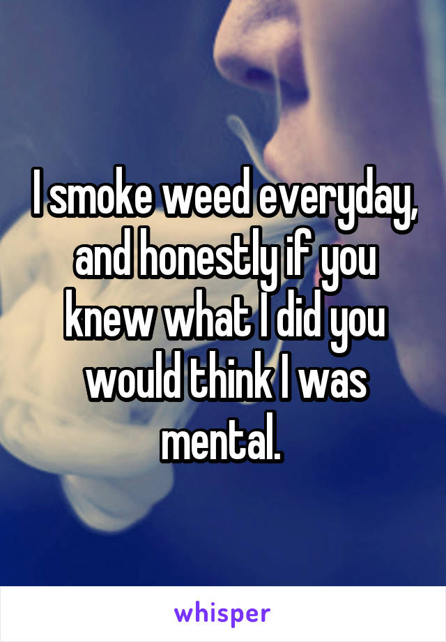 I smoke weed everyday, and honestly if you knew what I did you would think I was mental.