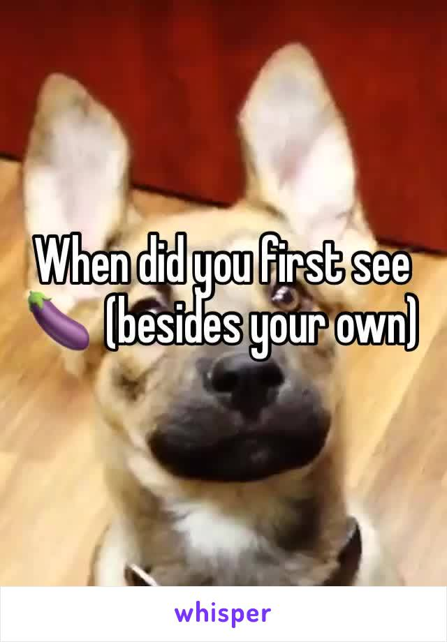 When did you first see 🍆  (besides your own)