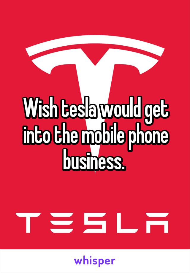 Wish tesla would get into the mobile phone business.