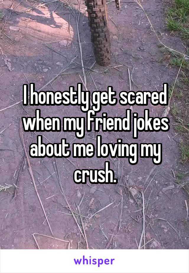 I honestly get scared when my friend jokes about me loving my crush.