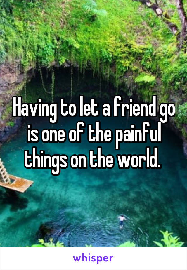 Having to let a friend go is one of the painful things on the world.