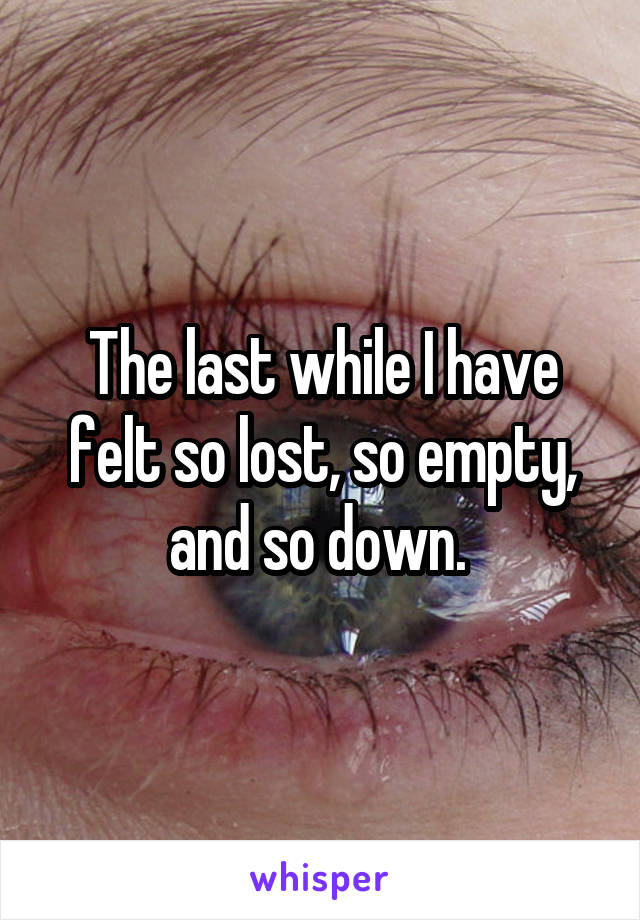 The last while I have felt so lost, so empty, and so down.