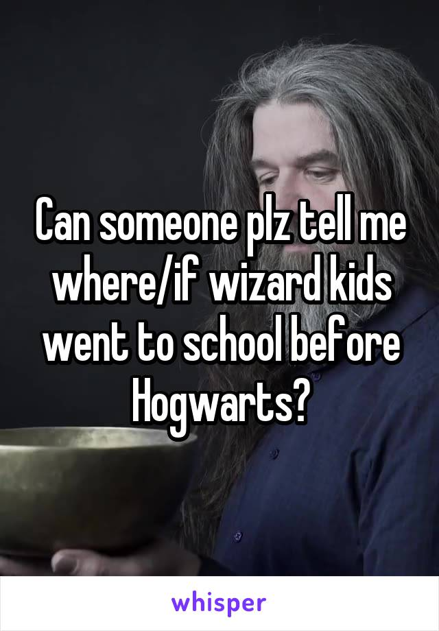 Can someone plz tell me where/if wizard kids went to school before Hogwarts?