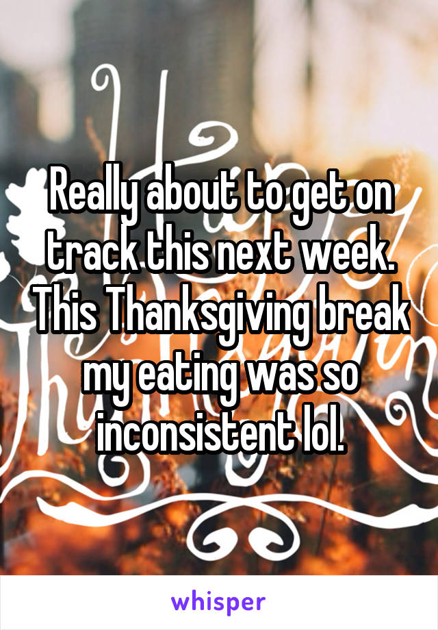 Really about to get on track this next week. This Thanksgiving break my eating was so inconsistent lol.