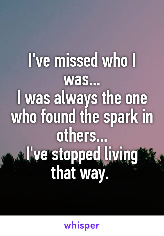 I've missed who I was... I was always the one who found the spark in others... I've stopped living that way.