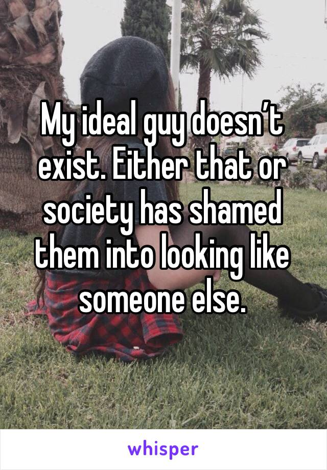 My ideal guy doesn't exist. Either that or society has shamed them into looking like someone else.
