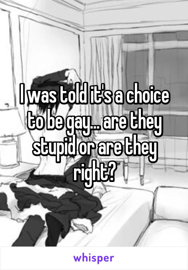 I was told it's a choice to be gay... are they stupid or are they right?