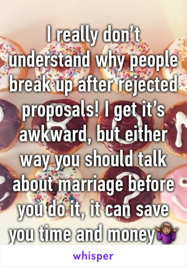 I really don't understand why people break up after rejected proposals! I get it's awkward, but either way you should talk about marriage before you do it, it can save you time and money🤷🏽‍♀️