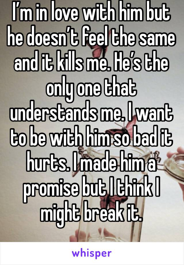 I'm in love with him but he doesn't feel the same and it kills me. He's the only one that understands me. I want to be with him so bad it hurts. I made him a promise but I think I might break it.