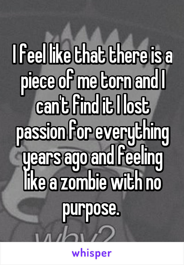 I feel like that there is a piece of me torn and I can't find it I lost passion for everything years ago and feeling like a zombie with no purpose.