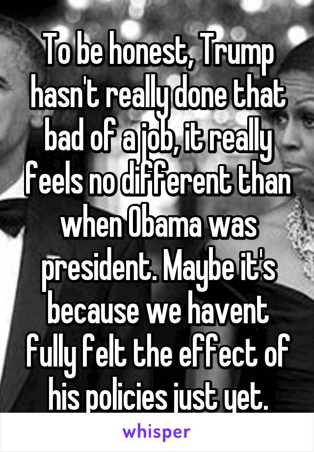 To be honest, Trump hasn't really done that bad of a job, it really feels no different than when Obama was president. Maybe it's because we havent fully felt the effect of his policies just yet.