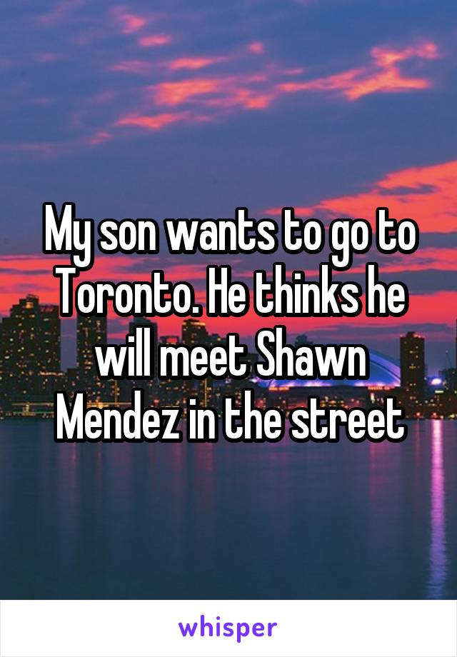 My son wants to go to Toronto. He thinks he will meet Shawn Mendez in the street