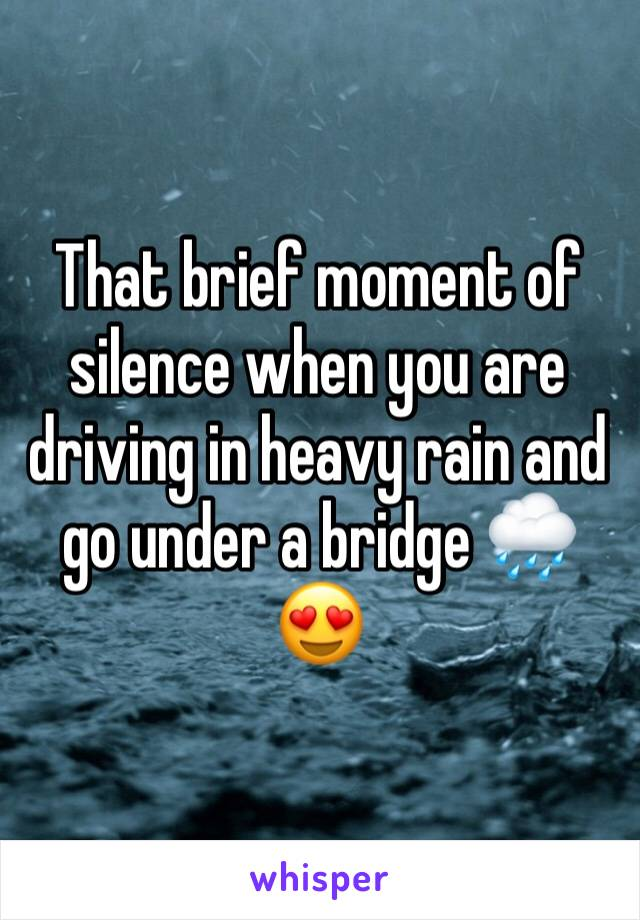 That brief moment of silence when you are driving in heavy rain and go under a bridge 🌧😍