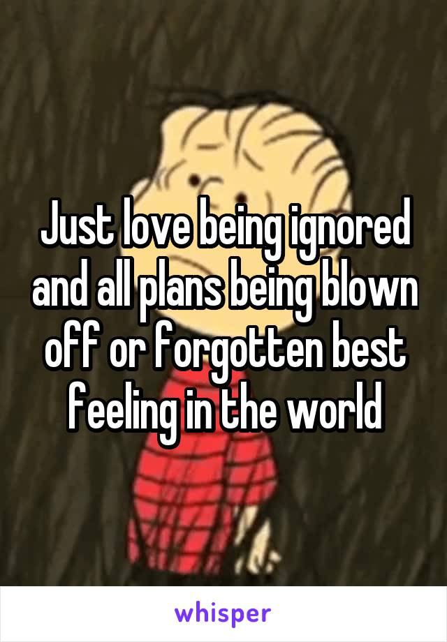Just love being ignored and all plans being blown off or forgotten best feeling in the world
