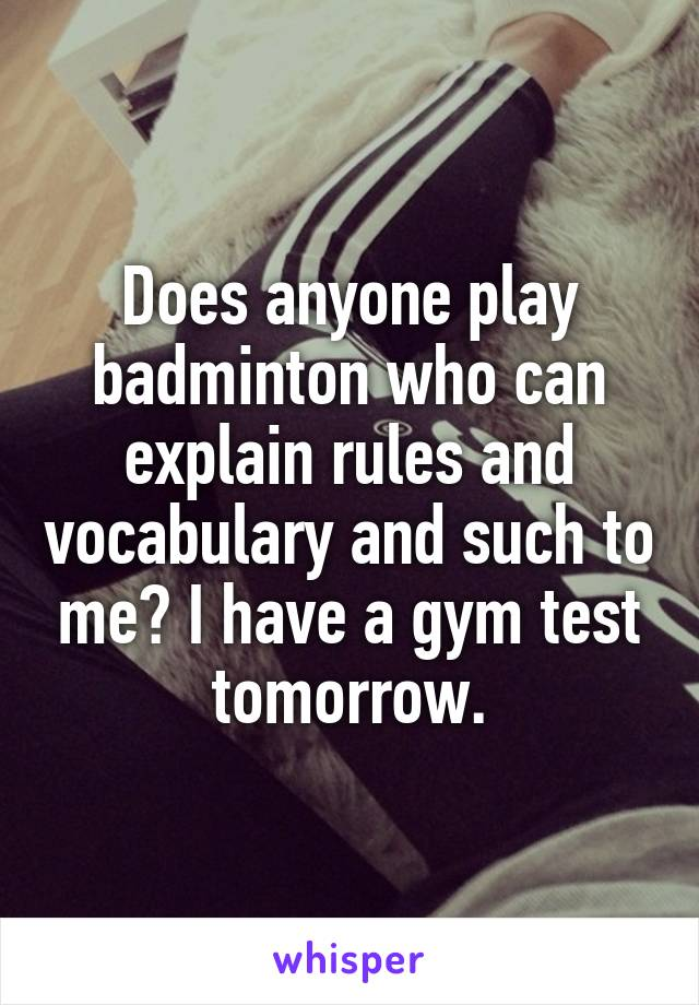Does anyone play badminton who can explain rules and vocabulary and such to me? I have a gym test tomorrow.