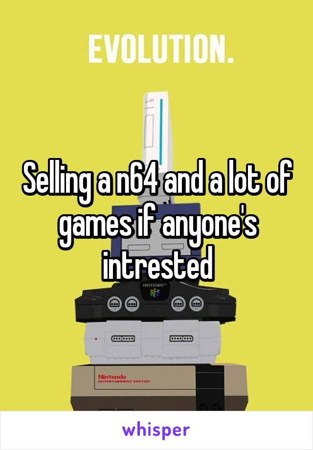 Selling a n64 and a lot of games if anyone's intrested