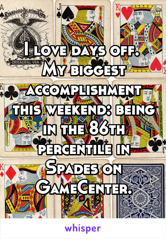 I love days off.  My biggest accomplishment this weekend: being in the 86th percentile in Spades on GameCenter.