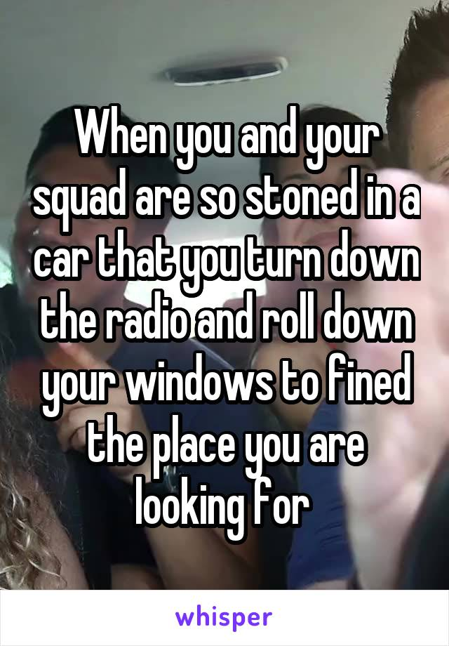 When you and your squad are so stoned in a car that you turn down the radio and roll down your windows to fined the place you are looking for