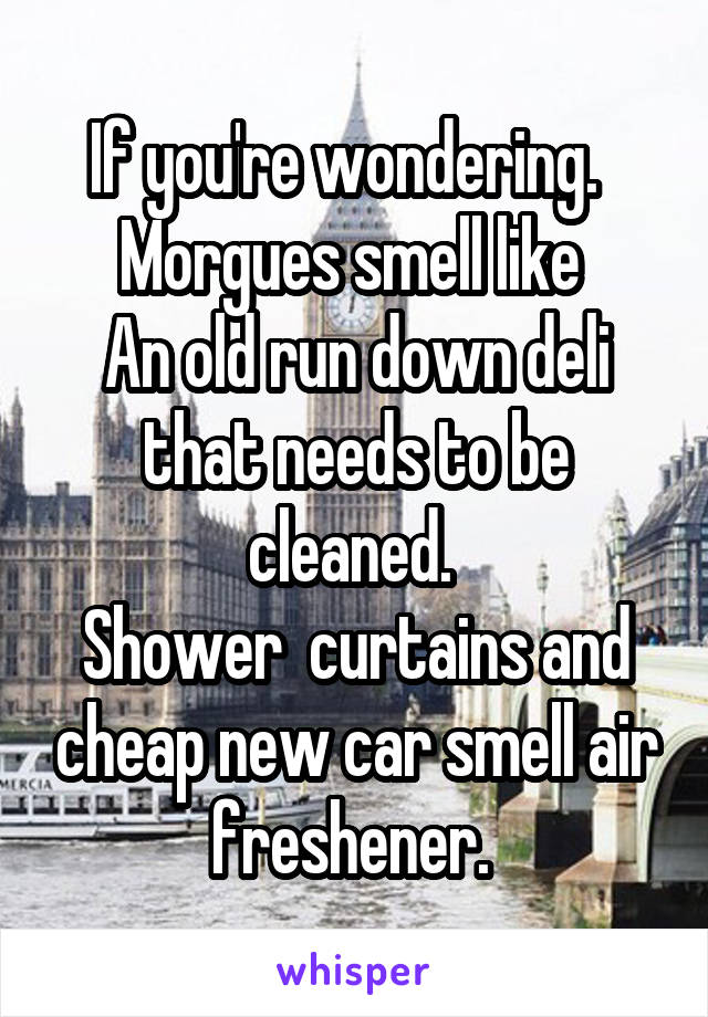 If you're wondering.   Morgues smell like  An old run down deli that needs to be cleaned.  Shower  curtains and cheap new car smell air freshener.