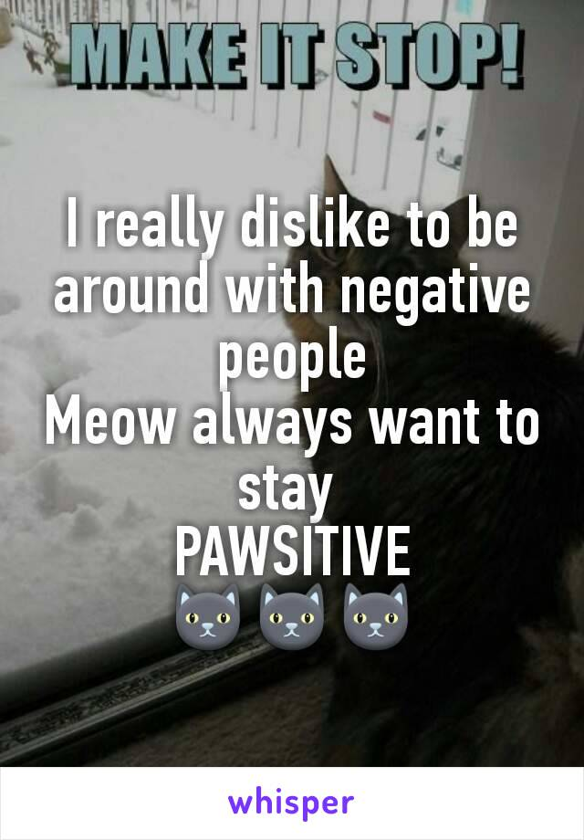 I really dislike to be around with negative people Meow always want to stay  PAWSITIVE 🐱🐱🐱