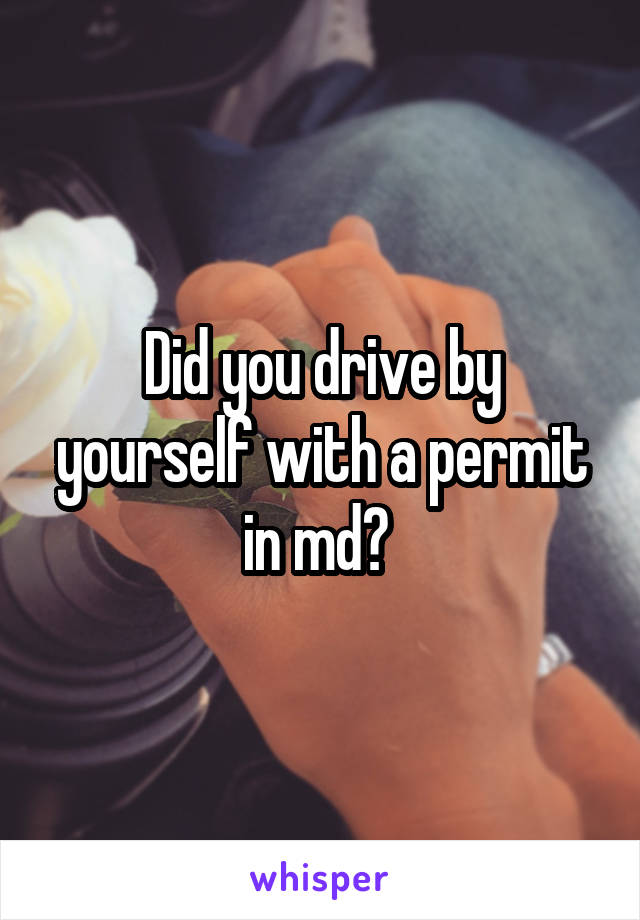 Did you drive by yourself with a permit in md?