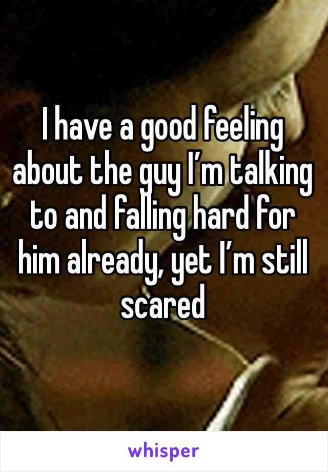 I have a good feeling about the guy I'm talking to and falling hard for him already, yet I'm still scared
