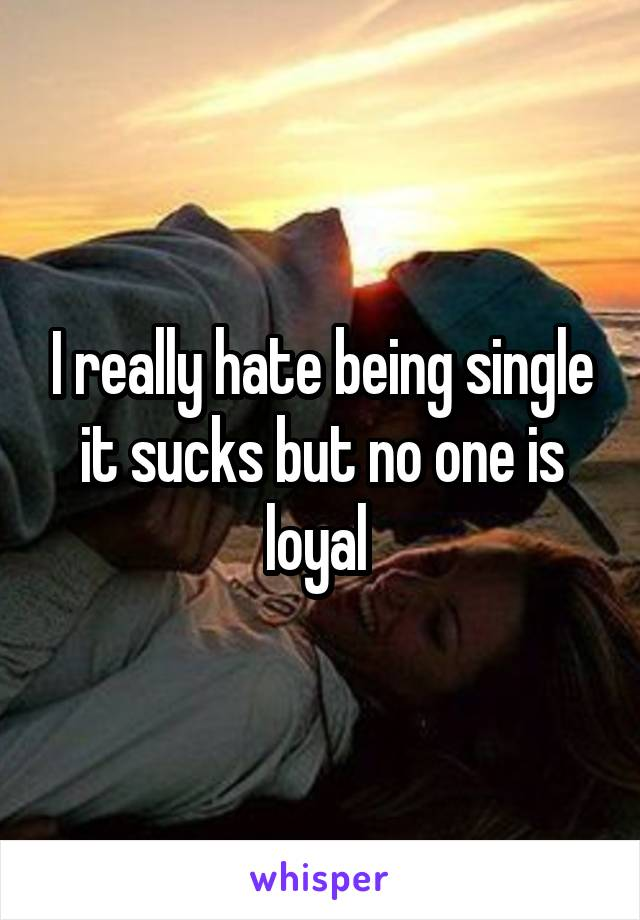 I really hate being single it sucks but no one is loyal